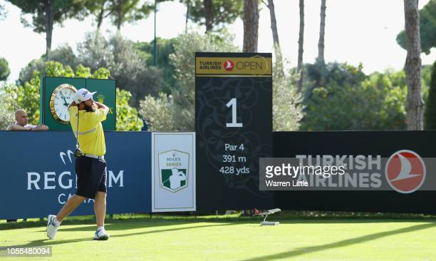 Andrew 'Beef' Johnson of England in action during the pro am ahead of the Turkish Airlines Open at the Regnum Carya Golf Spa Resort on October 30...