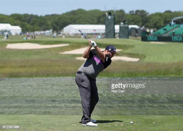 Andrew 'Beef' Johnston of England plays a shot during a practice round prior to the 2018 US Open at Shinnecock Hills Golf Club on June 12 2018 in...