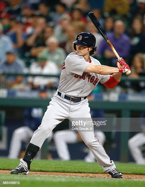 Andrew Benintendi of the Boston Red Sox bats against the Seattle Mariners in the seventh inning at Safeco Field on August 2 2016 in Seattle Washington