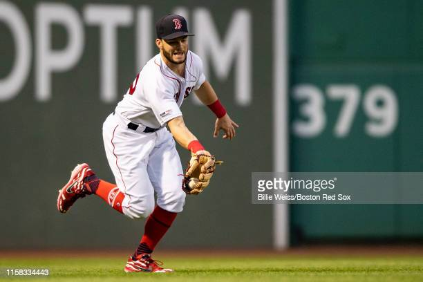 Andrew Benintendi of the Boston Red Sox catches a fly ball during the fourth inning of a game against the New York Yankees on July 28, 2019 at Fenway...
