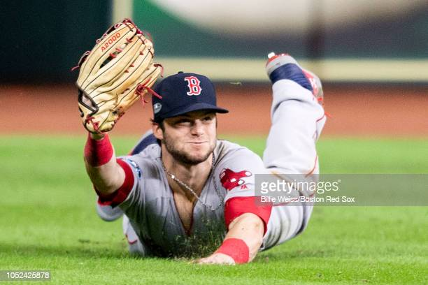 Andrew Benintendi of the Boston Red Sox catches the final out of the game during the ninth inning of game four of the American League Championship...