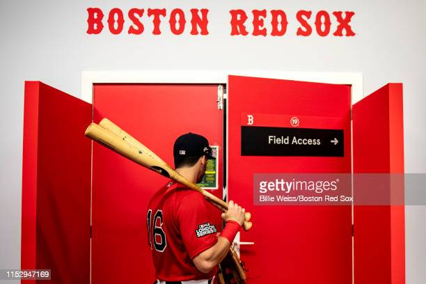 Andrew Benintendi of the Boston Red Sox exits the clubhouse before game two of the 2019 Major League Baseball London Series against the New York...