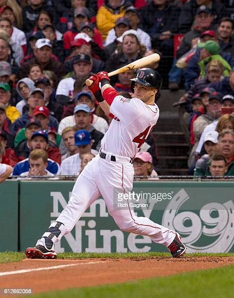 Andrew Benintendi of the Boston Red Sox flies out to center during the third inning against the Toronto Blue Jays at Fenway Park on October 2 2016 in...