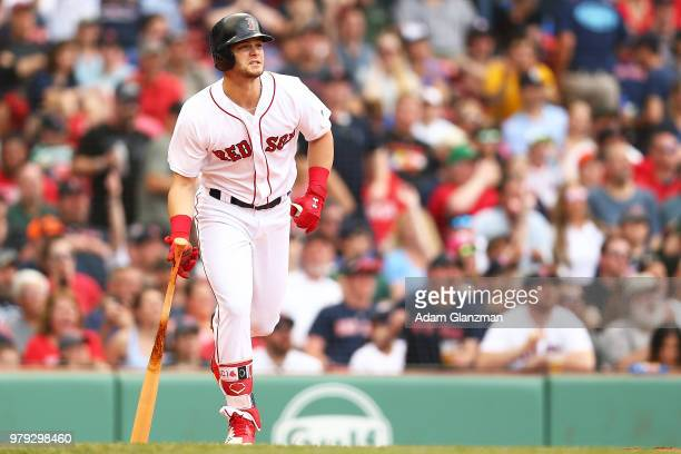 Andrew Benintendi of the Boston Red Sox hits a tworun home run in the fifth inning of a game against the Baltimore Orioles at Fenway Park on May 20...