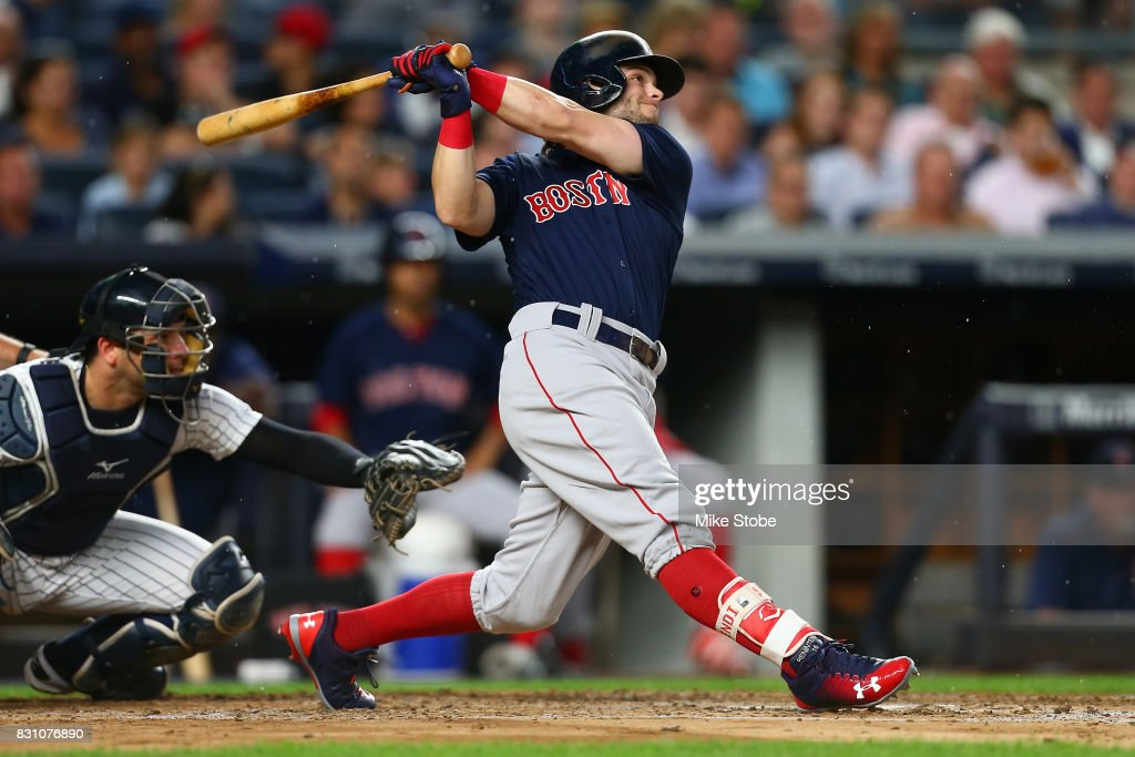Andrew Benintendi #16 of the Boston Red Sox in action against the New York Yankees at Yankee Stadium on August 11, 2017 in the Bronx borough of New York City. New York Yankees defeated the Boston Red Sox 5-4.