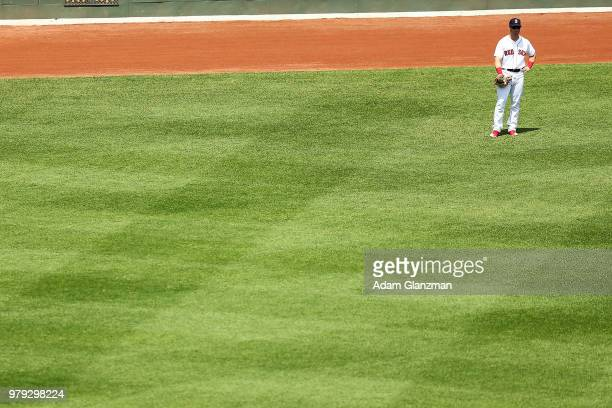 Andrew Benintendi of the Boston Red Sox looks on during a game against the Baltimore Orioles at Fenway Park on May 20 2018 in Boston Massachusetts