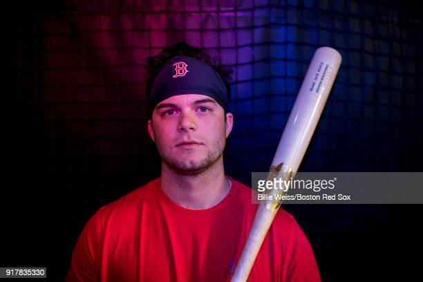 Andrew Benintendi of the Boston Red Sox poses for a portrait during a team workout on February 13 2018 at Fenway South in Fort Myers Florida