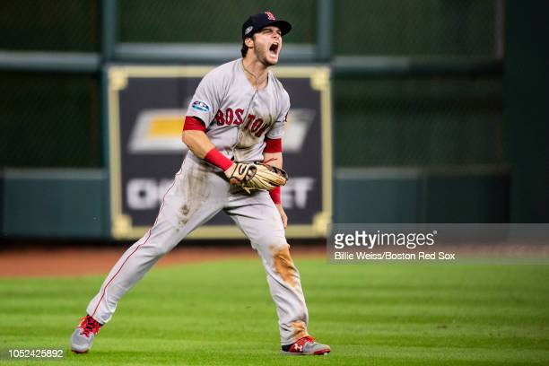 Andrew Benintendi of the Boston Red Sox reacts after catching the final out of the game during the ninth inning of game four of the American League...