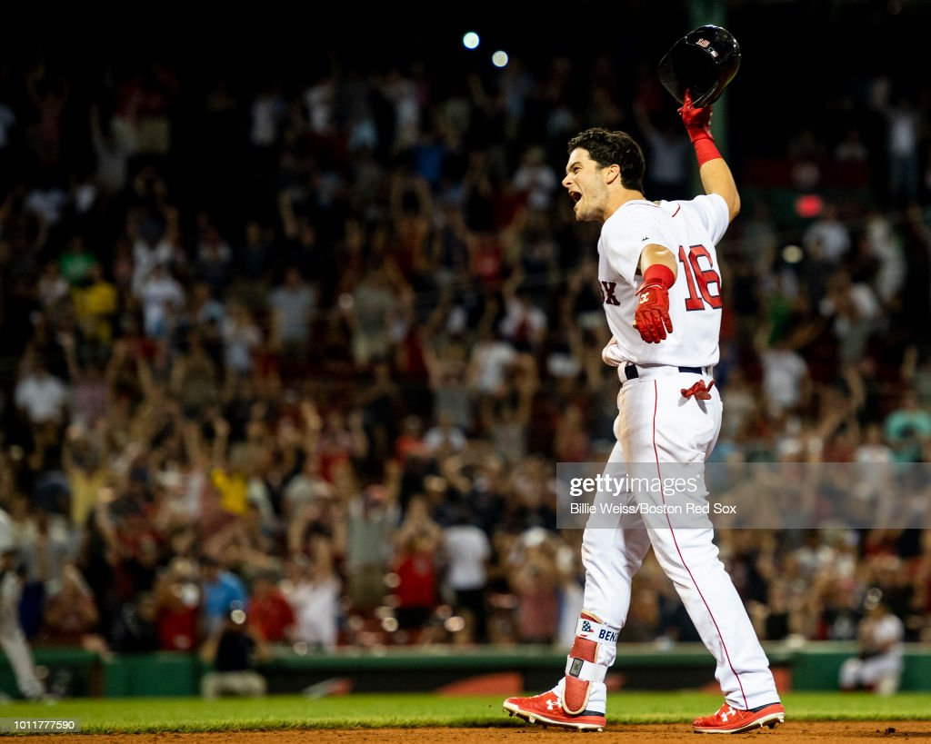 Andrew Benintendi #16 of the Boston Red Sox reacts after hitting the game winning walk off single during the tenth inning of a game against the New York Yankees on August 5, 2018 at Fenway Park in Boston, Massachusetts.