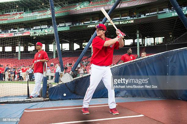 Andrew Benintendi of the Boston Red Sox takes batting practice before a game against the New York Yankees on August 9 2016 at Fenway Park in Boston...