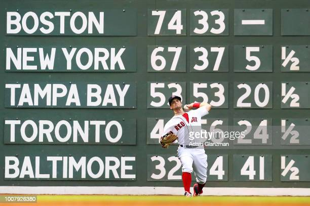 Andrew Benintendi of the Boston Red Sox throws to second base in the second inning of a game against the Philadelphia Phillies at Fenway Park on July...
