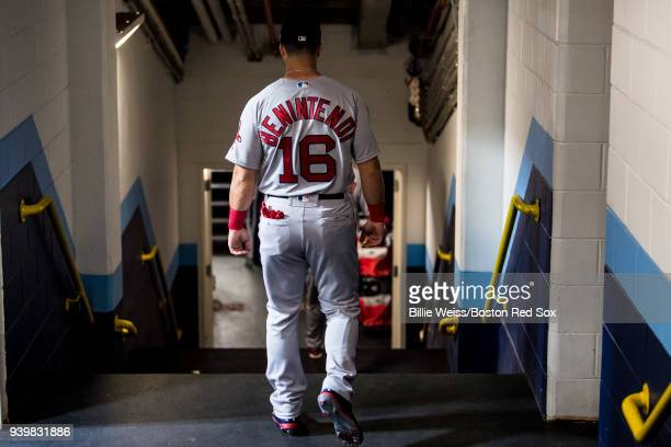 Andrew Benintendi of the Boston Red Sox walks through the tunnel before the Opening Day game against the Tampa Bay Rays on March 29 2018 at Tropicana...