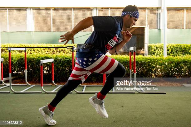 Andrew Benintendi of the Boston Red Sox works out during a team workout on February 21 2019 at JetBlue Park at Fenway South in Fort Myers Florida
