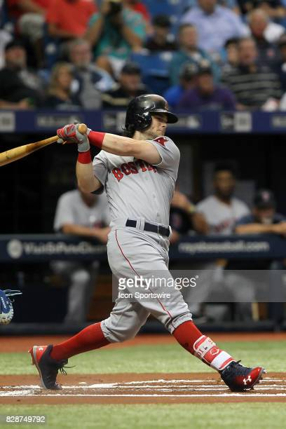 Andrew Benintendi of the Red Sox at bat during the MLB regular season game between the Boston Red Sox and Tampa Bay Rays on August 8 at Tropicana...