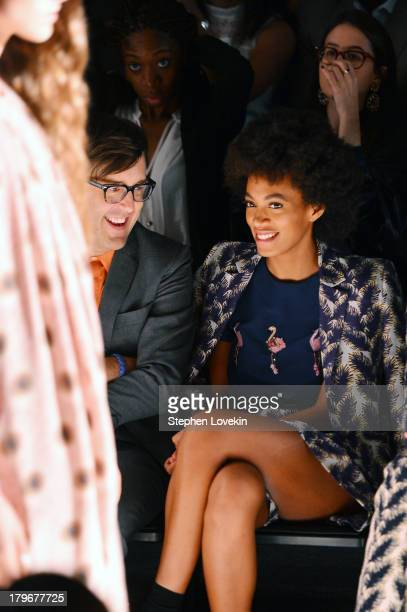 Andrew Bevan and Solange Knowles attend the Noon By Noor Spring 2014 fashion show during MercedesBenz Fashion Week at The Studio at Lincoln Center on...
