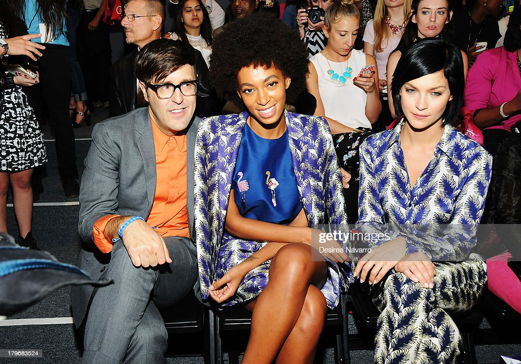 Andrew Bevan, Solange Knowles and Leigh Lezark attend the Noon By Noor show during Spring 2014 Mercedes-Benz Fashion Week at The Studio at Lincoln Center on September 6, 2013 in New York City.