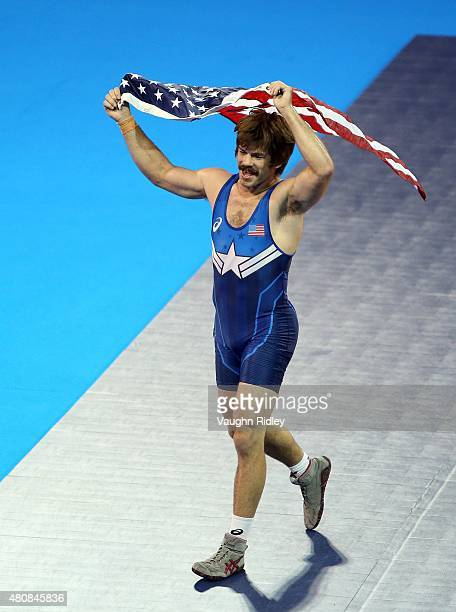 Andrew Bisek of the USA celebrates victory over Alvis Almendra of Panama in the Men's 75kg GrecoRoman Gold Medal Final during the Toronto 2015 Pan Am...