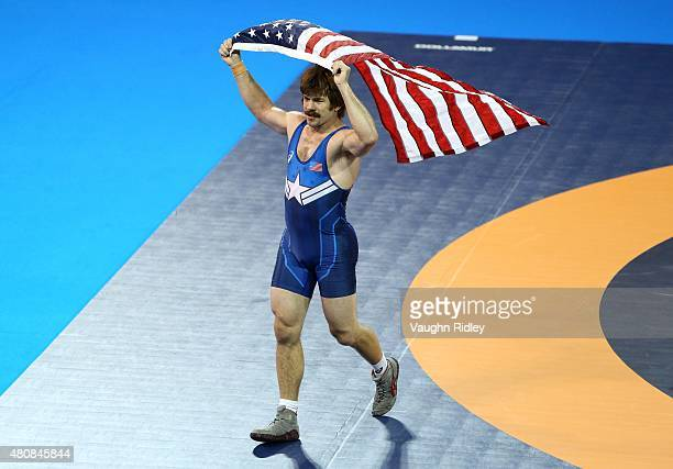 Andrew Bisek of the USA celebrates victory over Alvis Almendra of Panama in the Men's 75kg Gold Medal Final during the Toronto 2015 Pan Am Games at...