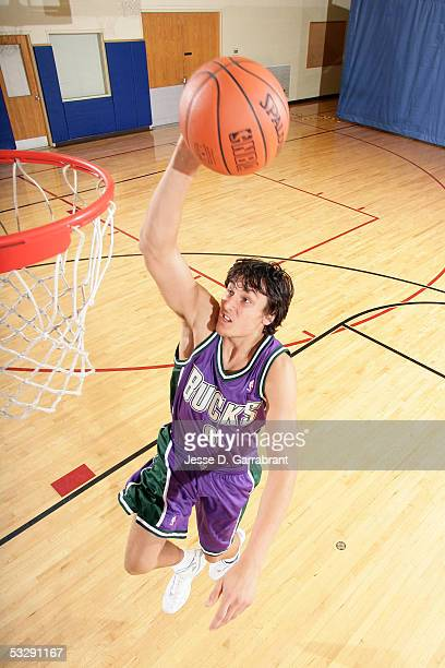 Andrew Bogut of the Milwaukee Bucks participates in mock action portrait shoot during an NBAEntertainment Rookie Photo Shoot July 20 2005 at the JCC...
