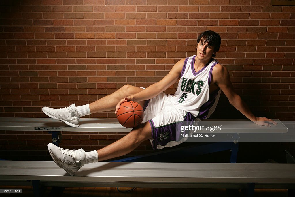 Andrew Bogut (overall number 1 pick in the 2005 NBA Draft) #6 of the Milwaukee Bucks poses for a portrait during an NBAEntertainment Rookie Photo Shoot July 20, 2005 at the JCC on the Palisade in Tenafly, New Jersey.