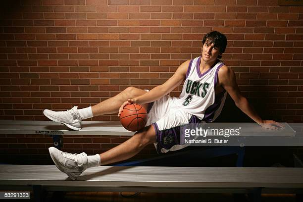 Andrew Bogut of the Milwaukee Bucks poses for a portrait during an NBAEntertainment Rookie Photo Shoot July 20 2005 at the JCC on the Palisade in...