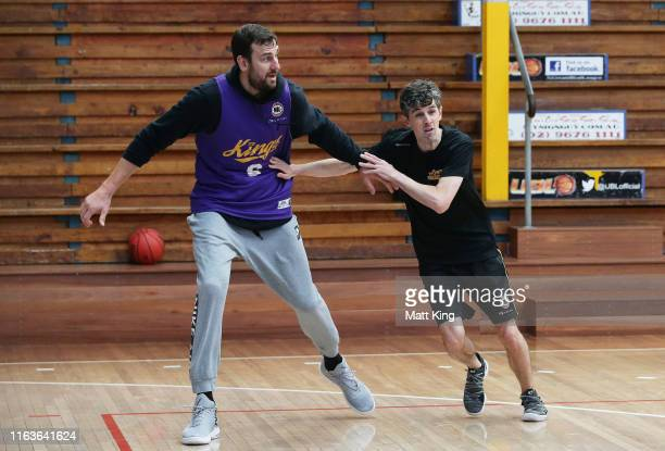 Andrew Bogut defends with coach Will Weaver during the Sydney Kings pre-season camp at Auburn Basketball Centre on July 23, 2019 in Sydney, Australia.