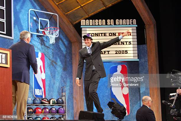 Andrew Bogut is selected by the Milwaukee Bucks during the 2005 NBA Draft on June 28 2005 at The Theater at Madison Sqaure Garden in New York City...