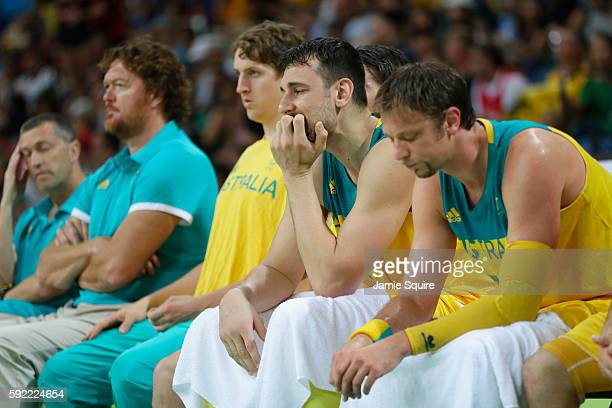 Andrew Bogut of Australia reacts with teammates on the bench during the Men's Semifinal match against Serbia on Day 14 of the Rio 2016 Olympic Games...