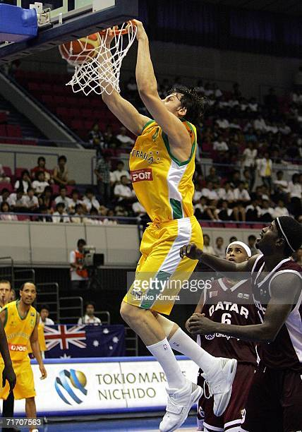 Andrew Bogut of Australia shoots against Qatar during the preliminary round of the 2006 FIBA World Championships on August 24 2006 in Hamamatsu Japan