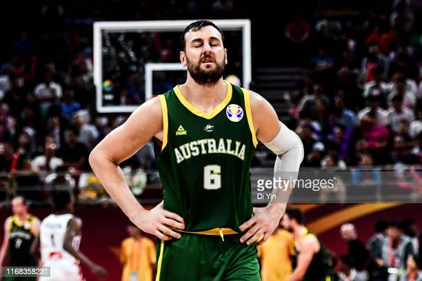 Andrew Bogut of Australiareacts during the 3rd place games between France and Australia of 2019 FIBA World Cup at the Cadillac Arena on September 15,...