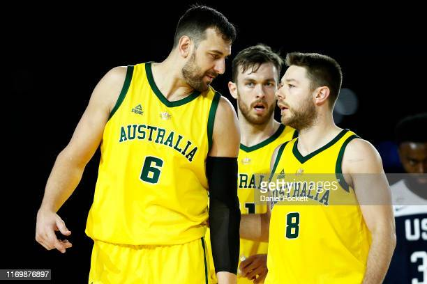 Andrew Bogut of the Boomers speaks with Matthew Dellavedova of the Boomers during game two of the International Basketball series between the...