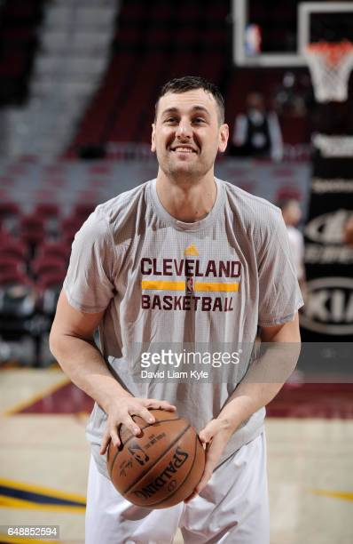 Andrew Bogut of the Cleveland Cavaliers warms up before a game against the Miami Heat on March 6 2017 at Quicken Loans Arena in Cleveland Ohio NOTE...