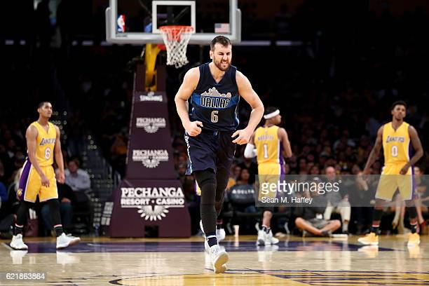 Andrew Bogut of the Dallas Mavericks reacts to scoring during the second half of a game against the Los Angeles Lakers at Staples Center on November...