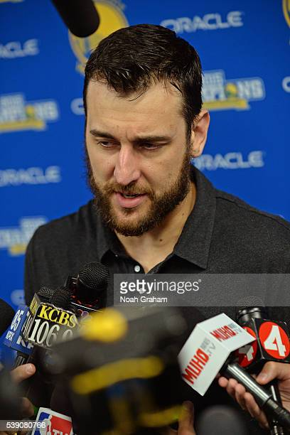 Andrew Bogut of the Golden State Warriors before facing the Cleveland Cavaliers for Game Two of the 2016 NBA Finals on June 5 2016 at ORACLE Arena in...