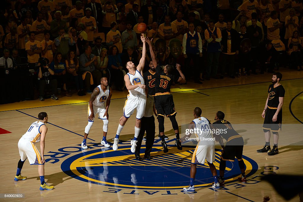 Andrew Bogut #12 of the Golden State Warriors goes for the tip off against Tristan Thompson #13 of the Cleveland Cavaliers during the game during Game Five of the 2016 NBA Finals on June 13, 2016 at Oracle Arena in Oakland, California.