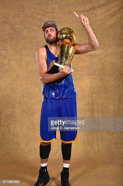 Andrew Bogut of the Golden State Warriors poses for a portrait with the Larry O'Brien trophy after defeating the Cleveland Cavaliers in Game Six of...