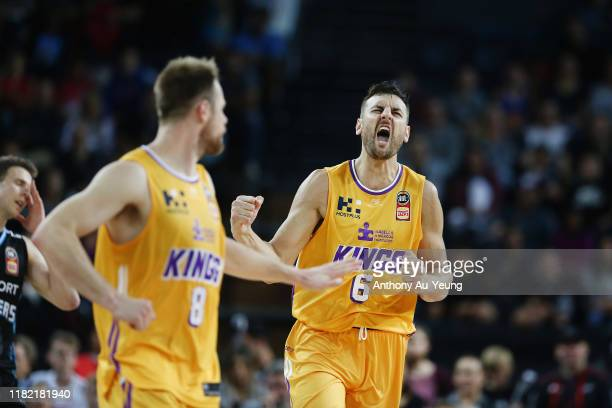 Andrew Bogut of the Kings celebrates a basket during the round three NBL match between the New Zealand Breakers and the Sydney Kings at Spark Arena...