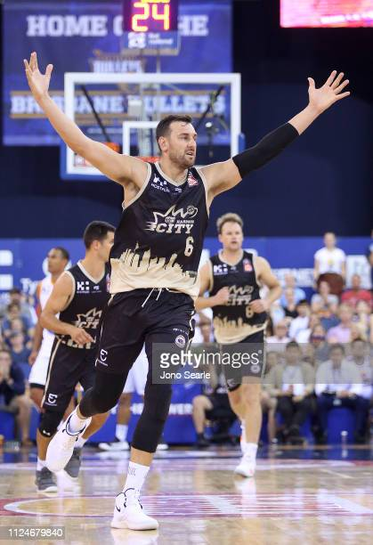 Andrew Bogut of the Kings celebrates a point during the round 15 NBL match between the Brisbane Bullets and the Sydney Kings at Brisbane...