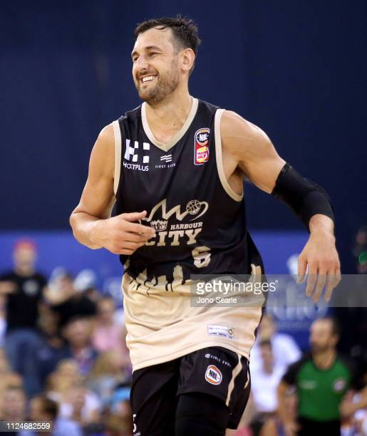 Andrew Bogut of the Kings celebrates after making a clutch basket during the round 15 NBL match between the Brisbane Bullets and the Sydney Kings at...