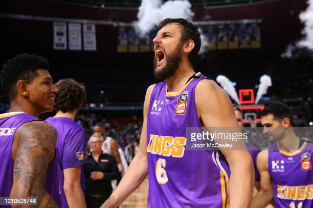 Andrew Bogut of the Kings celebrates victory during game three of the NBL Semi Final Series between the Sydney Kings and Melbourne United at Qudos...