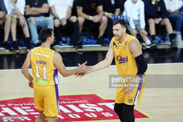 Andrew Bogut of the Kings celebrates with his teammates during the round eight NBL match between the New Zealand Breakers and the Sydney Kings at...