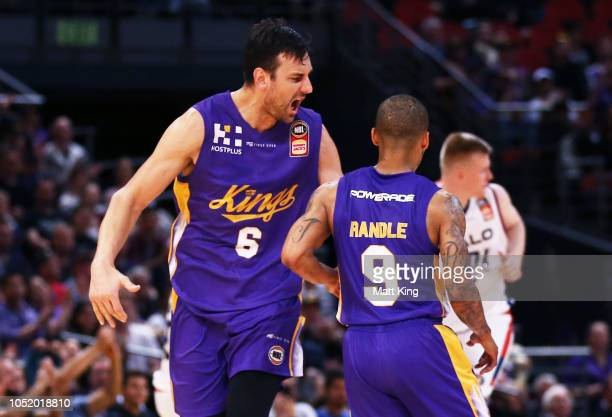 Andrew Bogut of the Kings celebrates with Jerome Randle during the round one NBL match between the Sydney Kings and the Adelaide 36ers at Qudos Bank...