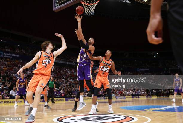 Andrew Bogut of the Kings drives to the basket during the round 18 NBL match between the Sydney Kings and the Cairns Taipans at Qudos Bank Arena on...