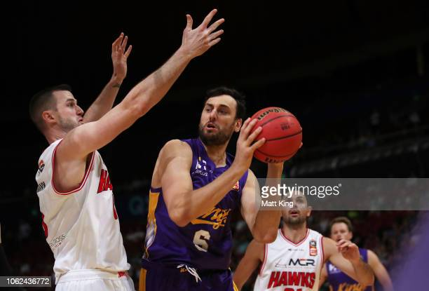 Andrew Bogut of the Kings drives to the basket during the round four NBL match between the Sydney Kings and the Illawarra Hawks at Qudos Bank Arena...