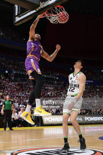 Andrew Bogut of the Kings dunks during the round 12 NBL match between the Sydney Kings and the South East Melbourne Phoenix at Qudos Bank Arena on...