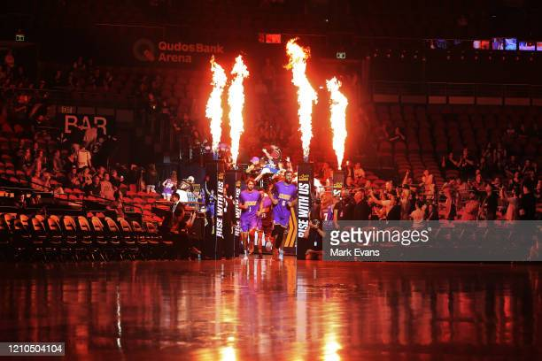 Andrew Bogut of the Kings leads the team out prior to game three of the NBL Semi Final Series between the Sydney Kings and Melbourne United at Qudos...