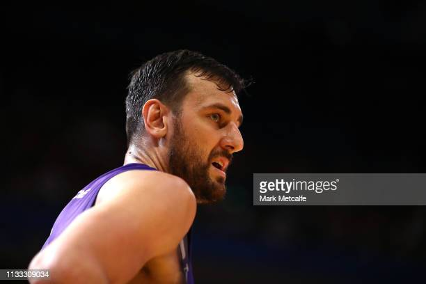 Andrew Bogut of the Kings looks on during game two of the NBL Semi Final series between the Sydney Kings and Melbourne United at Qudos Bank Arena on...