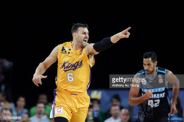 Andrew Bogut of the Kings reacts during the round eight NBL match between the New Zealand Breakers and the Sydney Kings at Spark Arena on December 09...