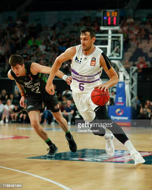 Andrew Bogut of the Kings runs with the ball during the round 8 NBL match between the South East Melbourne Phoenix and the Sydney Kings at Melbourne...
