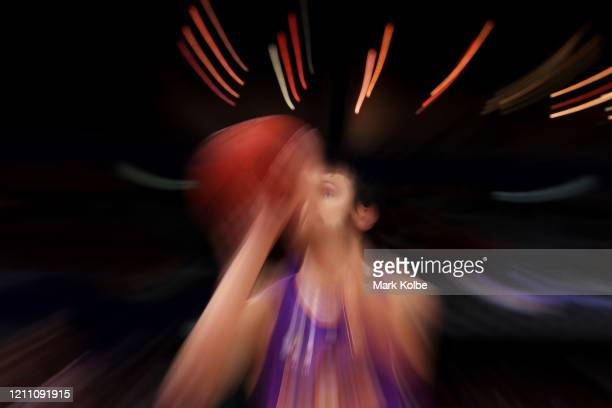 Andrew Bogut of the Kings shoots from the free throw line during game one of the NBL Grand Final series between the Sydney Kings and the Perth...